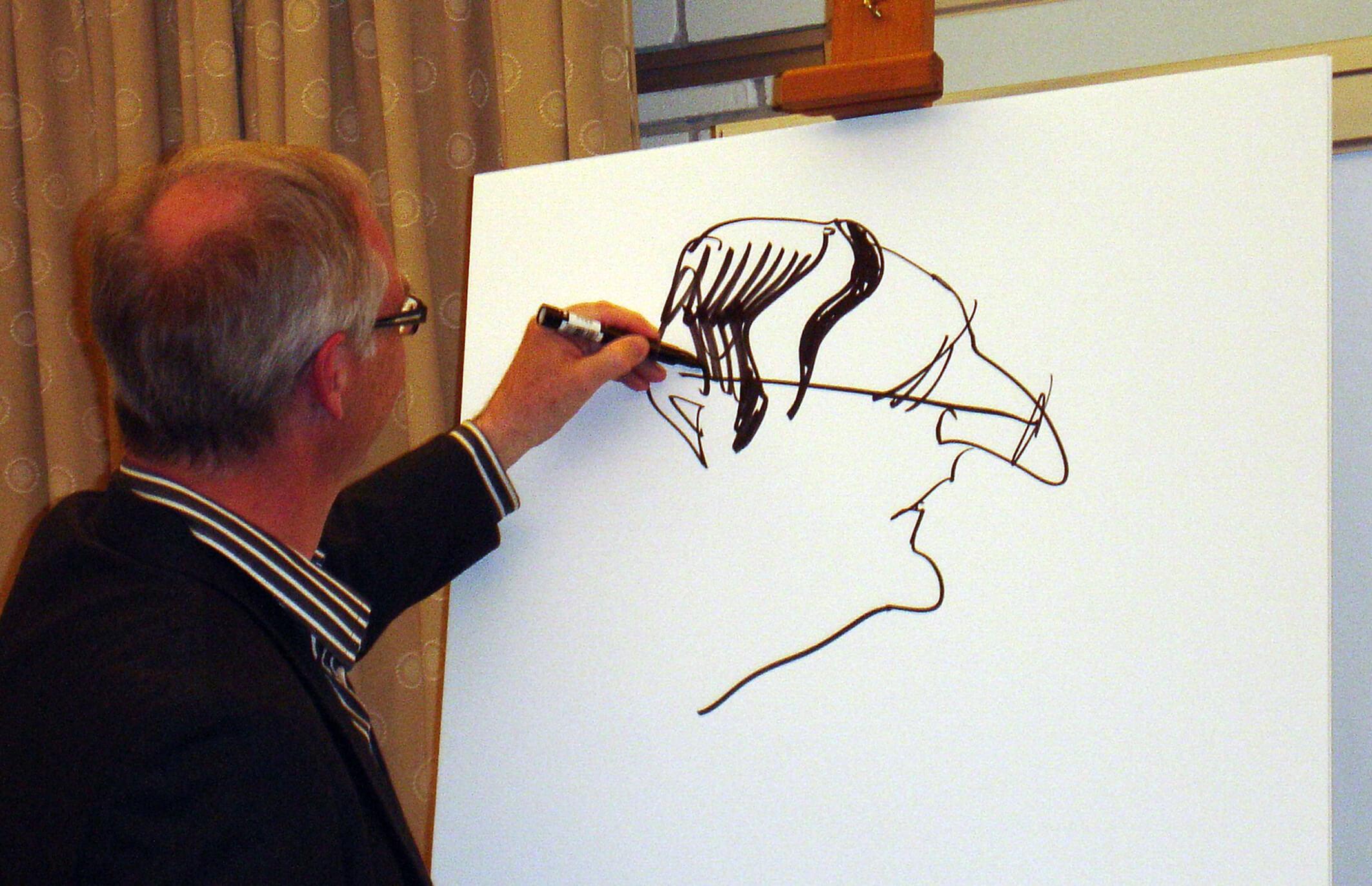 Simultantegner Jens Hage med mottoet »Havd der kan tænkes kan tegnes«.
